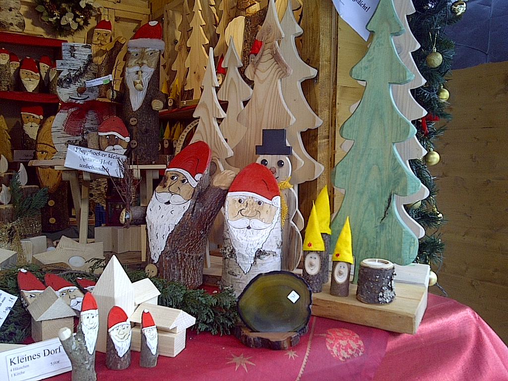 Unique locally made wooden Christmas decorations at the Ravennaschlucht Christmas Markets. Near Hinterzarten, Germany. On the FRENCH, GERMAN & SWISS ...