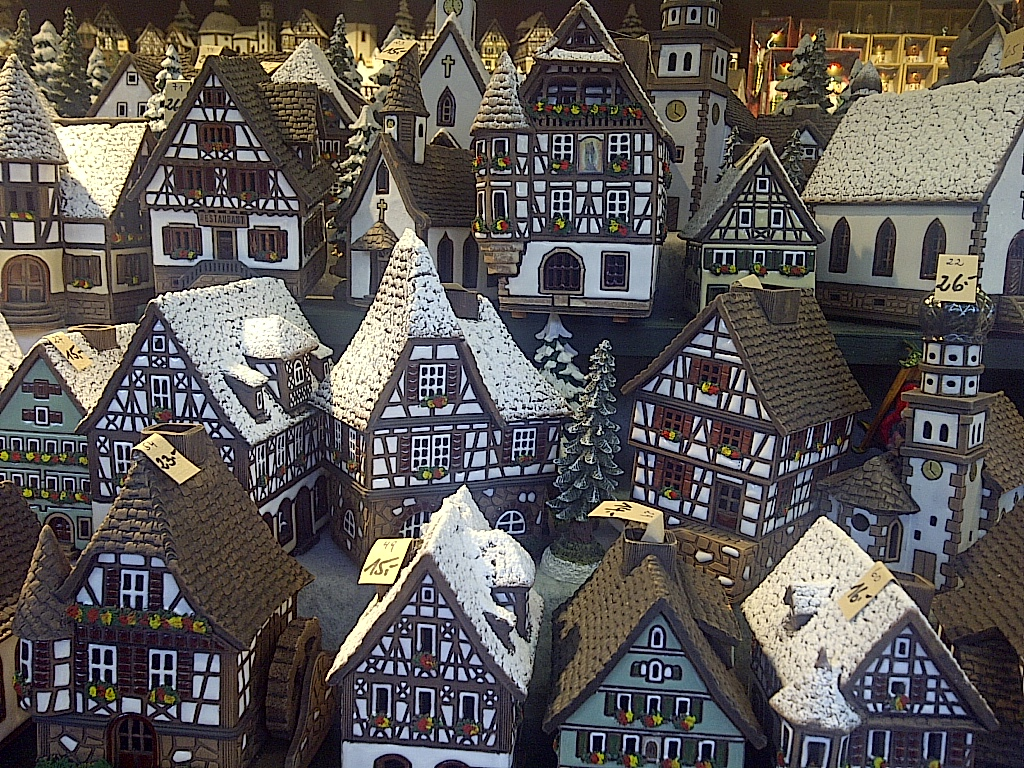 a ceramic german village at the christmas market booths in salzburg austria on the german austrian christmas market tour dec 4 2013
