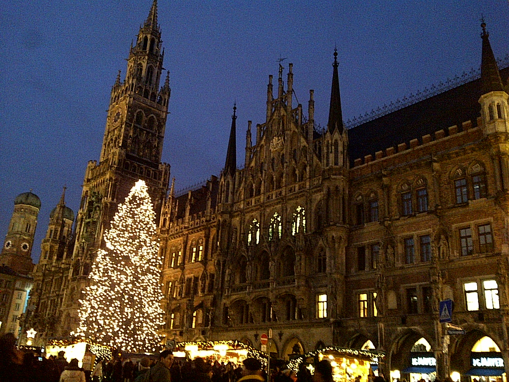 Munich Germany Christmas.The Munich City Hall With Its Enormous Christmas Tree