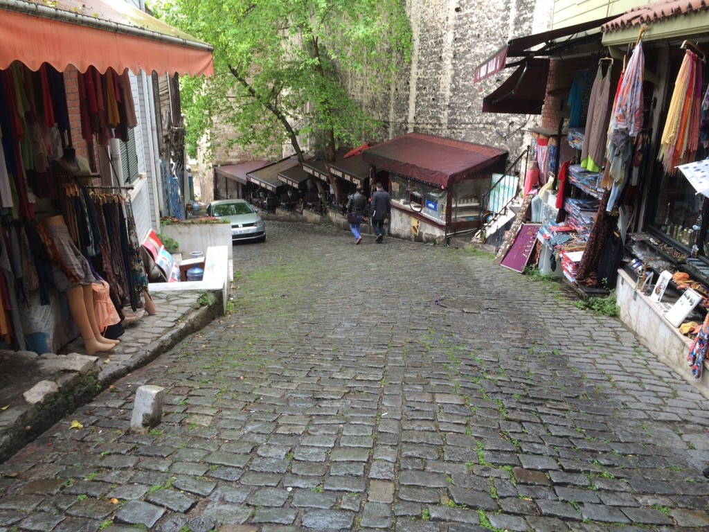 One of the narrow, winding, steep back lanes of the city
